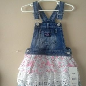 Nwt Toddler girl's Jordache ruffle overall dress